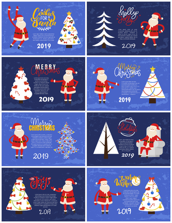Merry Christmas and Happy New Year 2019 greeting cards red Santa Claus and white Xmas tree on blue background. Decorated and abstract spruces, holiday adventures vector postcards Illustration