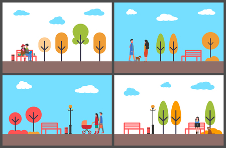 Autumn park fall season scenery and walking people vector. Father and mother with perambulator, couple working with laptop sitting on wooden bench Çizim