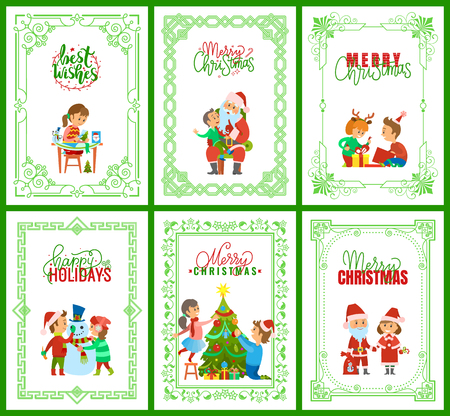 Best wishes, Santa Claus with kids on laps set vector. Snowman character building, children unpacking presents, father and daughter decorating tree Stock Illustratie