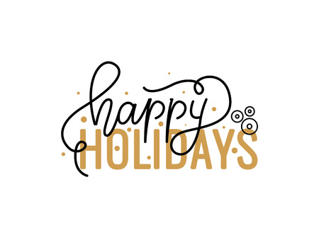 Happy Holidays hand written doodle, Merry Christmas script, calligraphic inscription for greeting cards design. Vector wishes lettering sign, hand drawn postcard