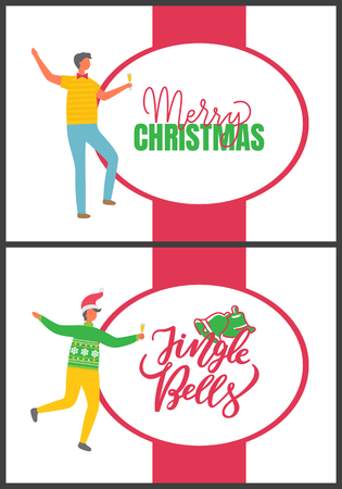 Merry Christmas and Jingle Bells, People and Party Illustration