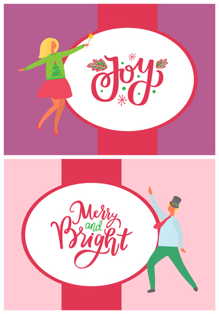Joy and merry and bright lettering poster. Dancing man, woman in green sweater, cartoon characters isolated vector. Happy people celebrating Christmas party