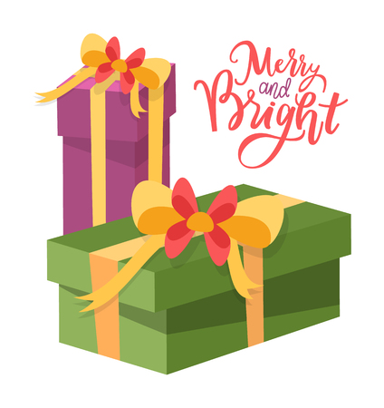 Merry and bright Christmas, vector package boxes, surprise on New Year holidays, topped by bow packs. Wrapped Xmas presents icons isolated on white Illustration