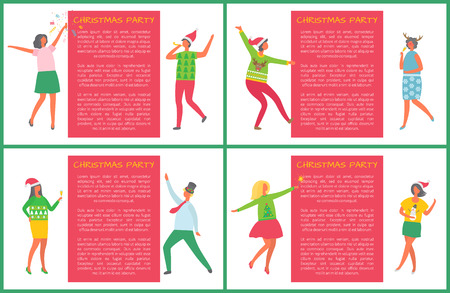 Christmas party posters set, people having fun together vector. New Years eve, celebration of man and woman. Drinking and dancing friends company Illustration