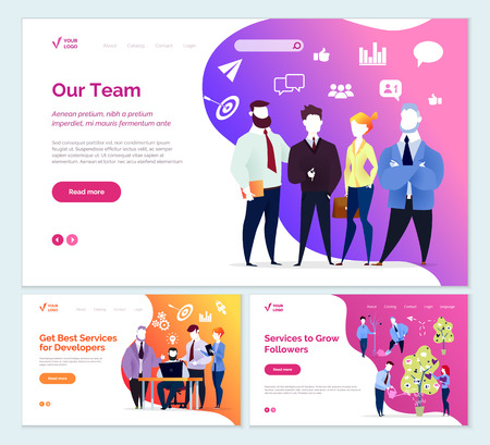 Best services developers services to grow followers vector. People working in team, increasing of profiles viewed, workers with tree. Start up of project