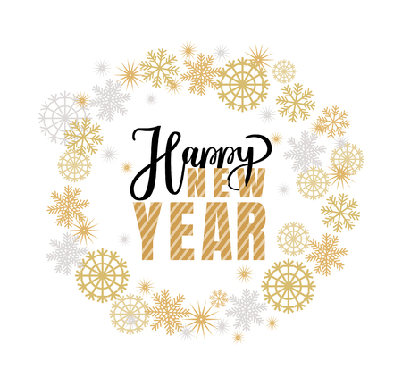 Happy New Year, Christmas holidays inscription, lettering sign. Typography doodle text, calligraphic vector winter wreath tag with snowflakes, isolated