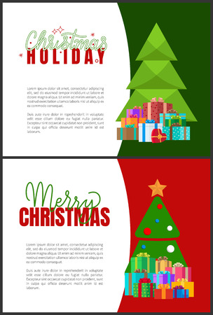 Christmas holidays greeting cards with fir trees. Vector invitation leaflets with spruces decorated by balls and topped by star, piles of presents in boxes