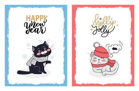 Christmas cards with greetings from kitty and cat. Vector illustration of black cat in the grey scarf and Holly Jolly kitty dreaming about mouse. Illustration
