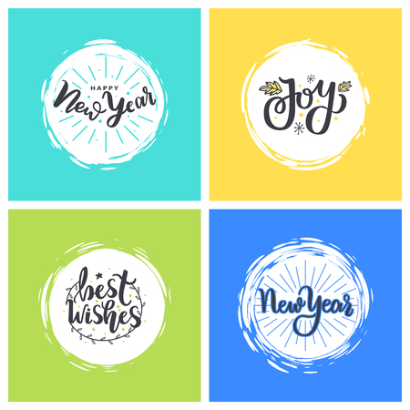 Happy New Year, Joy and best wishes festive greetings. Merry Christmas calligraphic prints, winter lettering isolated in color frames, vector cards Vettoriali