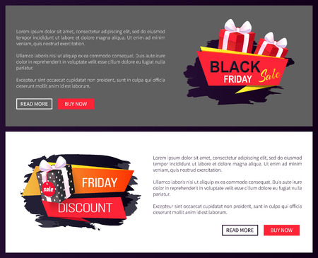 Black Friday sale, banners with presents in boxes vector. Discounts and special prices, reductions and surprises, autumn sellout on online sites templates Illustration