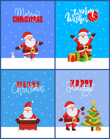 Warm wishes and Merry Christmas 2019 posters with New Year tree and Santa claus adventures. Skating and giving presents, chimney and spruce decoration