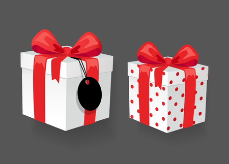 Gift boxes with bows and blank price tag, online shopping icon. Internet commerce, holiday present, sale symbol, wrapped packages vector illustration Иллюстрация