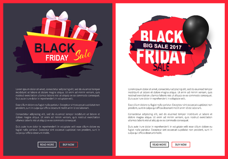 Black friday sale, discounts on autumn sellout vector. Presents and balloon, promotion of products and exclusive goods. Offers business propositions Illusztráció