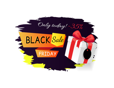 Sale on Black Friday, discounts 35 percent off vector promo label with gift box, packed in wrapping paper with bow, price tag on advertising sticker