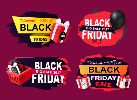 Black Friday Offers and Sales Banners Gifts Set