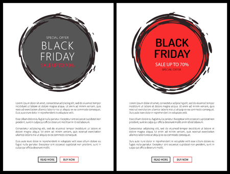 Promo posters on Black Friday sale vector web banners. Online pages with round labels in sketch style, super prices advertisements in grey and red color