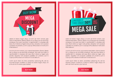 Special promotion of shop to purchase store items and get gifts. Buy now, mega discount best offer, sale label web page template vector present and bow. Çizim