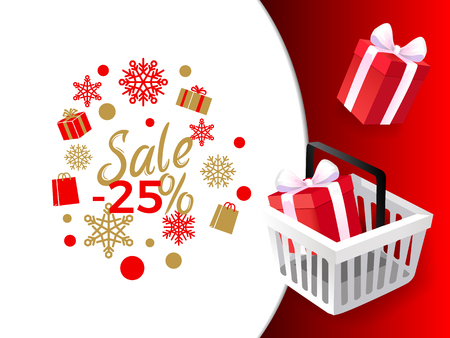 Sale 25 percent, shops sellout of products gifts vector. Present boxes with decoration bow and wrapping, Christmas holiday celebration, snowflakes