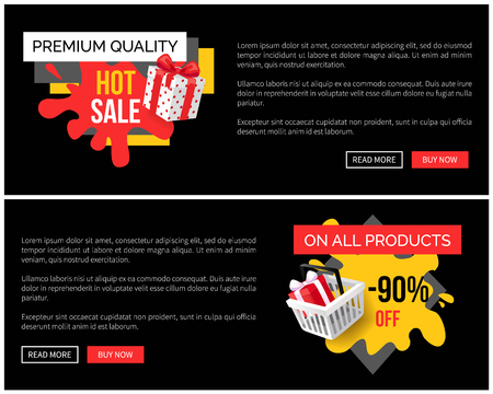 On all products final price, sale in shop vector landing page sample. Banner with blot and present wrapped in paper with polka dot, special offer Ilustracja