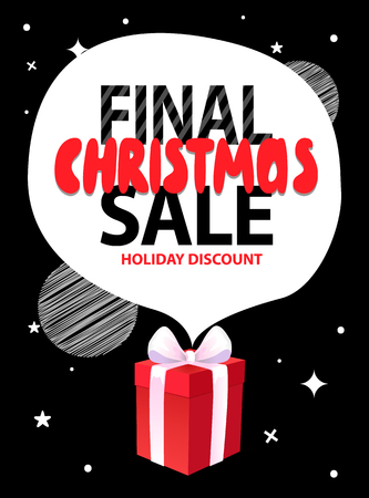 Final Christmas sale, holiday discount with speech bubble from wrapped gift box on background of night black sky with stars. Vector total price off leaflet Çizim