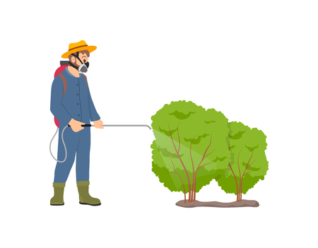 Farmer spraying bushes isolated icon vector. Protective measurements, pulverizing process against insects on leaves of plants. Chemical liquid in tank