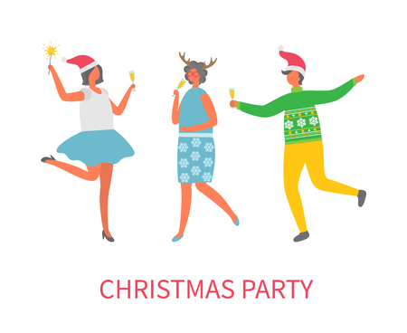 Christmas party celebration of people in good mood vector. Man and women with champagne glass in hands dancing together. Winter holiday fun event Çizim
