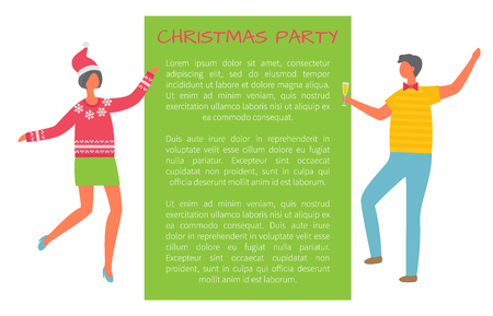 Christmas party celebration, colleagues at corporative, poster with text sample. Man with glass of champagne, woman in Santa Claus hat dancing, vector Illustration