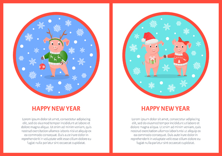 Happy New Year greeting in round frame, male and female piglets, pigs in hat and bow, Christmas holidays. Animal exchange gift, zodiac symbol vector