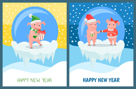 Happy New Year, male female piglets with gifts vector. Pig wearing Santa Claus hat, glass baubles with snowfall outside. Traditional symbolic animal
