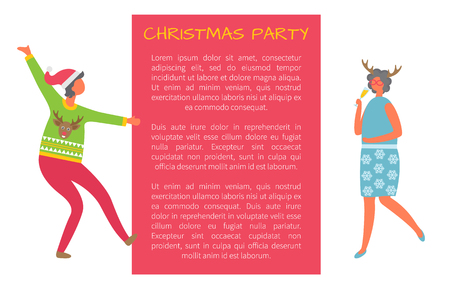 Christmas party celebration woman and text sample. Business ladies on high heels celebrating Xmas and New Year holidays. Colleagues at corporate evening Illustration