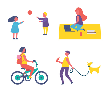People and hobbies icons set vector. Woman riding bicycle, children playing volleyball with ball. Freelancer on blanket using laptop, man walking dog