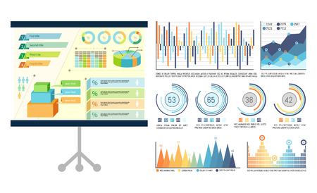 Infographics on presentation board, whiteboard used at seminar vector. Schemes visual information, charts and flowcharts showing results statistics