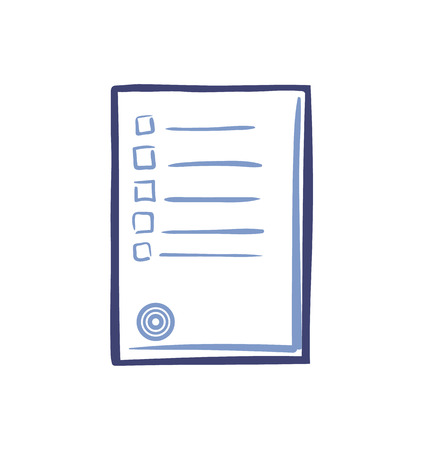 Office paper with stamp and boxes isolated icon vector. Document with text and published information and data. Voting blank with authorization form