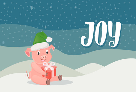 Joy, piglet symbol of New Year with gift box sitting on snow, winter landscape background. Pig in green hat wishing Merry Christmas vector postcard Illustration