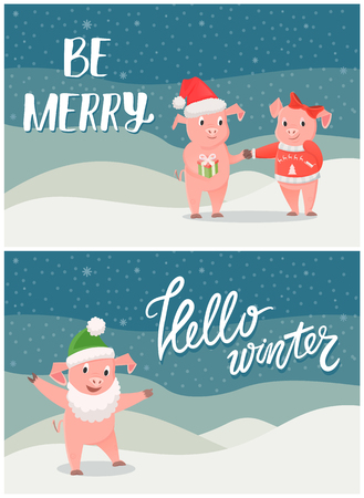 Hello winter, be merry wishes on Christmas, boy and girl piglets celebrating New Year holidays. Boar in Santa Claus hat on wintertime snowy backdrop, vector