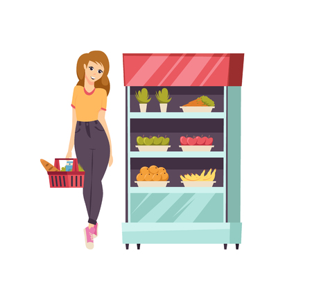 Food shopping woman with basket and meal vector. Customer looking at vegetables and fruits in refrigerator at supermarket. Carrot and apples bananas