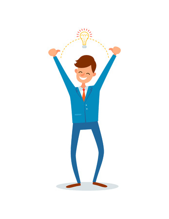 Man with innovative solution for business, creative chief flat vector. Eureka genius businessman with electric bulb. Manager with ideas and answers Ilustração