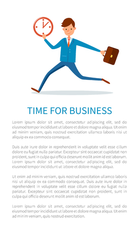 Time for business poster, businessman running at work with briefcase in hand, pointing on clock. Man in hurry, boss late at office, manager with case.