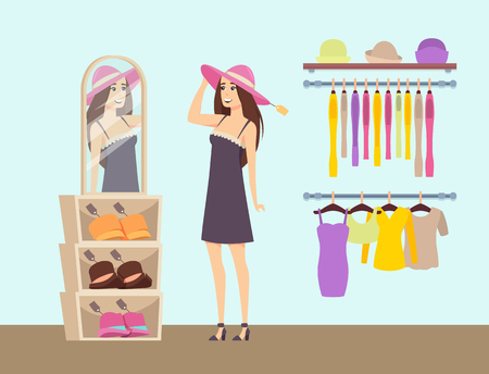 Woman shopping in clothes store, boutique for ladies vector. Brand hats and headwear, dress and blouses on hangers. Shopper female looking in mirror Reklamní fotografie - 125893592