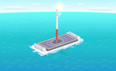 Falcon rocket on sailing platform vector illustration isolated. Autonomous spacecraft on sailboat in deep sea waters, satellite on cargo ship, spaceport Illustration