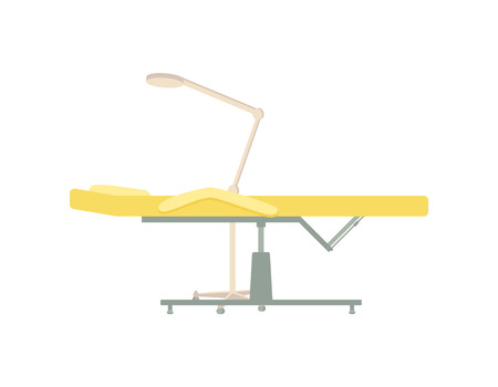 Massage table lamp illuminating light to see clear. Place to sit for clients of beauty spa salons. Isolated icon of furniture for specialist vector