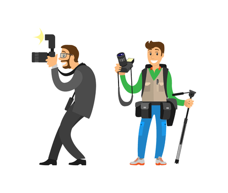 Photojournalist and reporter carrying bag or backpack, tripod for camera vector illustrations set. Photographers taking picture with photo equipment.
