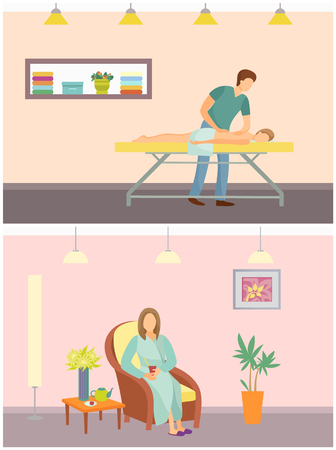 Massage and relaxing procedures in spa salon and resort. Woman sitting on chair drinking hot tea beverage. People relaxed and resting, man set vector