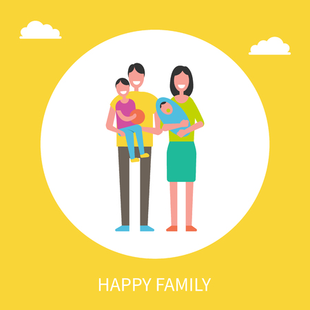 Happy family members father with son, mother with newborn boy vector couple and children, togetherness concept poster. Parents and kids in circle