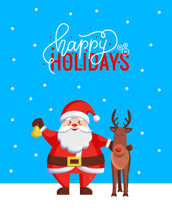 Happy Holidays greeting Christmas card with Santa Claus. Vector image of cartoon character and hero standing together with jingle bell and reindeer Illustration