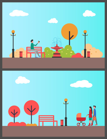 Man relaxing in autumn park sitting on bench vector. Family with perambulator walking, strolling parents pushing pram. Trees and fountain exterior
