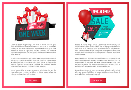 Balloons and ribbons with proposition of discounts, shop with reduced prices buy now items. Exclusive offer 50 percents buy now, web page template vector Illusztráció