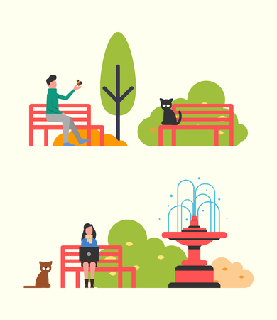 People sitting on bench in city park, autumn season. Vector man and bird, woman working with laptop, cat on wooden seat, fountain and trees, color bushes Illustration