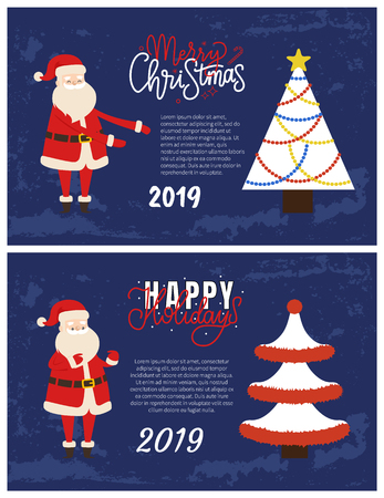 Merry Christmas and Happy Holidays greeting cards with cheerful Santa Claus. Best 2019 wishes, Xmas tree abstract spruces with tinsels vector, text sample