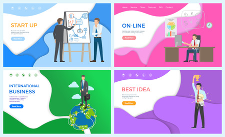 International businessman startup online works vector. Best idea of man, male holding trophy. Person with whiteboard explaining charts ideas to worker
